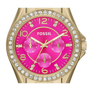 Fossil Women's Riley ES3507 Gold Stainless-Steel Quartz Watch with Pink Dial: Fossil: Amazon.ca: Watches
