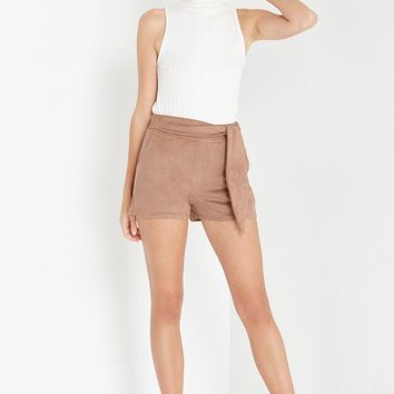 Alternate Reality Faux Suede Tie Shorts