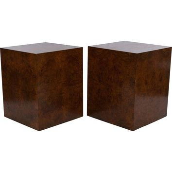 Pre-owned Milo Baughman Walnut Burl Cube Tables - A Pair