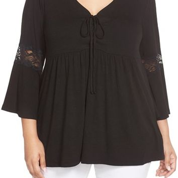 Bobeau Lace Inset Bell Sleeve Jersey Top (Plus Size) | Nordstrom