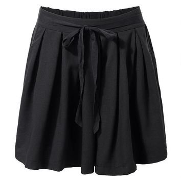 Solid Color Elastic Women Plus Size Pleated Bow Short Culotte