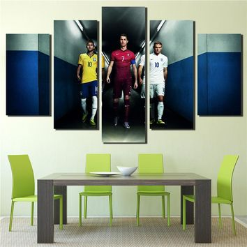 World Cup Sport Canvas Painting Football Star Gareth Bale Messi Ronaldo Neymar Modular Picture 5 Panels Home Decor Wall Art