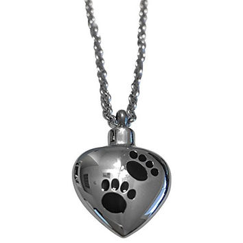 Stainless Steel Heart Ash Pendant 18 Inch Necklace