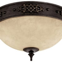 "0-084133>13""w River Crest 2-Light Ceiling Fixture Rustic Iron"