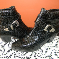 SHAKIRA STYLE Crocodile Patton Leather Black DINGO Ankle Boots.Western Ladies Bootie.Wrap Around Belt With Western Hardwear.