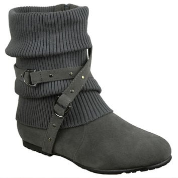 Womens Knitted Strappy Stud Ankle Boots Gray Generation Y