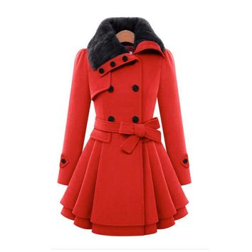 Women Wool Blend Trench Overcoat Winter Turn-down Collar Long Sleeve Peacoat Double Breasted Slim Fit Outwear Plus Size YF72