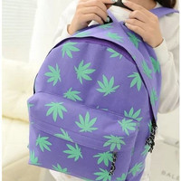 Stylish Simple Design Canvas Leaf Print Backpack Travel Bags [6580917959]