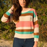Delightfully Damaged Distressed Striped Sweater - Taupe from Preppy at Lucky 21