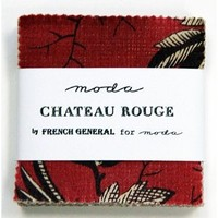"French General CHATEAU ROUGE 2.5"" MINI Charm Pack Fabric Quilting Squares Moda 13620MC: Arts, Crafts & Sewing"