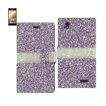 New Jewelry Rhinestone Wallet Case In Purple For ZTE Warp Elite By Reiko