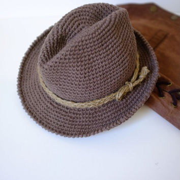 Baby Toddler Fedora Hat Cowboy Brown Hat Indiana Jones Costume Baby Photo Props Baby Boy Shower Gift Crochet Cotton Hat Cute Hats Mila