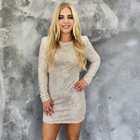 Life of The Party Silver Sequin Bodycon Dress