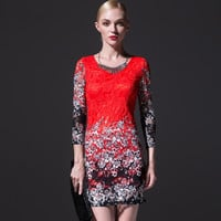 Red Floral Print Lace Sleeve Bodycon Dress