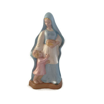 Vintage Madonna and Child Ceramic Figurine, Virgin Mary Statue, Hand Painted Religious Statue,