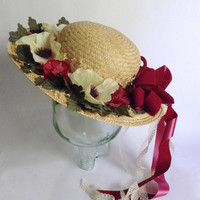 Floral Straw Hat - Wide Brim Fancy Outdoor Flower Ribbon Bow Garden Cap - Sun Hat - Kentucky Derby - Spring Summer Christmas Fashion