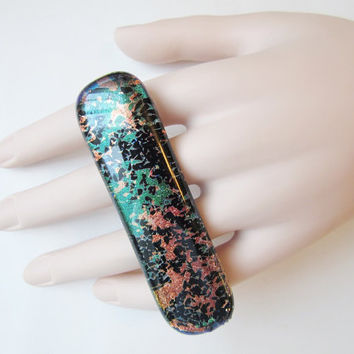 Unique Double Finger Fused Glass Ring, Two Finger Ring, Adjustable Statement Ring, Glass Jewelry, Big Bold Ring, Graffiti Splatter Art Ring