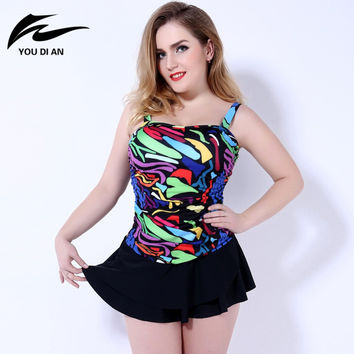 2016 printed women summer dress sexy plus size swimwear one piece swimsuit for women push up biquini plus size bodysuit