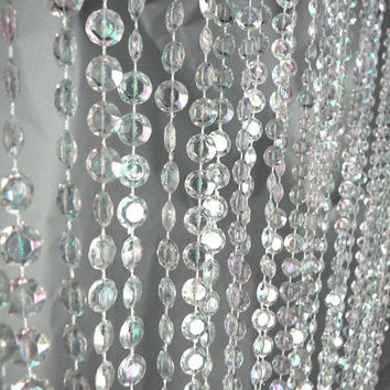 Crystal Bead Curtain Hanging Decor, 6-feet, Iridescent Clear