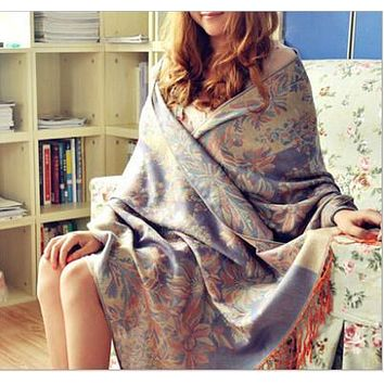 2017 Freeshipping fashion brand bohemian floral embrodiery Jacquard scarf long wide women scarves fringed scarf 65*190cm