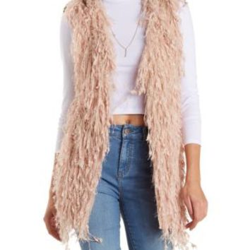Pale Mauve Knotted Fuzzy Fringe Vest by Charlotte Russe