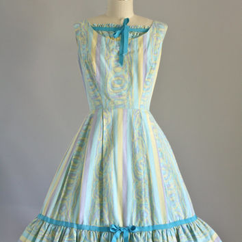 Vintage 1950s Dress / 50s Cotton Dress / Pastel Sleeveless Dress w/ Full Skirt XS