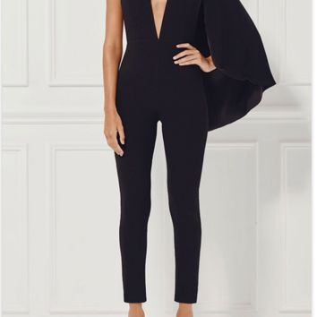 Black Cape Bandage Jumpsuit