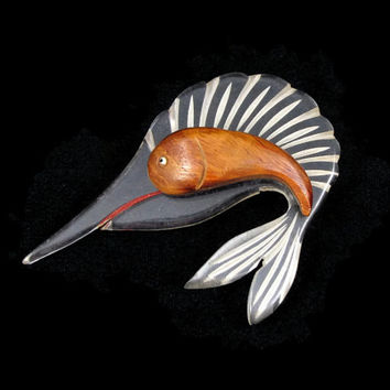Go Fish - Vintage 1940s Lucite and Wood Sailfish Brooch, Reverse Carved with Painted Details, Early Plastic Jewelry, Art Deco Pin