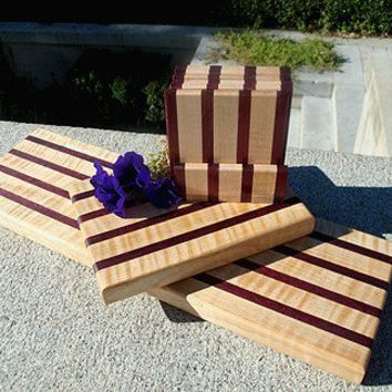 Handmade Wood Cheese Board 3 Piece Set - Purple Heart & Flame Maple