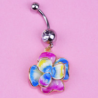 Belly Button Ring - Beautiful Esmalte Enamel Rose Flower