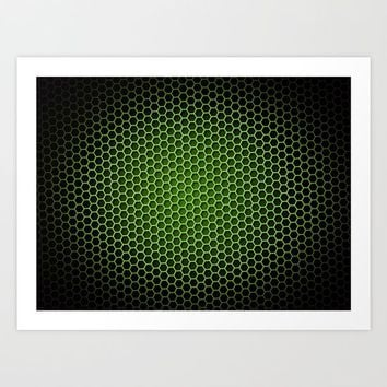 Honeycomb Background Green Art Print by Henrik Lehnerer