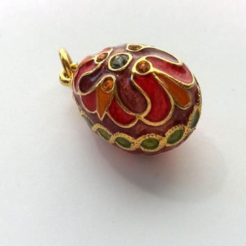 Fabergé Egg Styled Charm Pendant Gold Guilloché Enamel Amber Crystal Free Shipping
