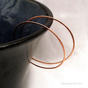 Copper Hoop Earrings, Large Reverse Hoops