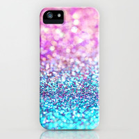 Pastel sparkle- photograph of pink and turquoise glitter iPhone Case by Sylvia Cook Photography
