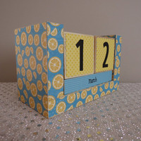 Handmade Perpetual Wooden Block Calendar - Fruity Fun - Lemonade Stand Fruit Salad