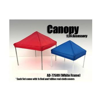 Canopy Accessory Blue and Red with 1 White Frame 1:24 Scale by American Diorama