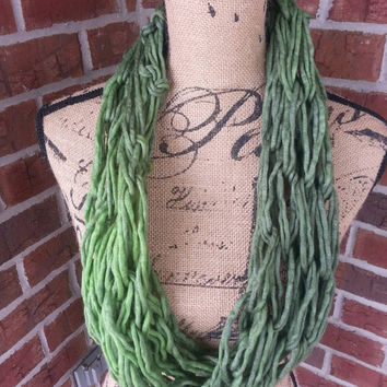 Wool Arm knitted cowl scarf, green ombre, neutral scarf, knit scarf, infinity scarf, Bulky arm knit scarf, fall scarf, shades of green