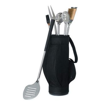 Novelty 5 Piece BBQ Tools in Black Golf Bag and Golf Grips (Pack of 1)