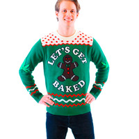 Let's Get Baked Blazed Gingerbread Adult Green Ugly Christmas Xmas Sweater