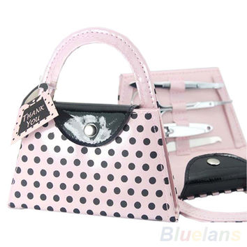 Hot Sale Pink Polka Dot Purse Make Up Manicure Tool Kit Set Women Lady Bridesmaid Christmas Gifts 02RM Alternative Measures