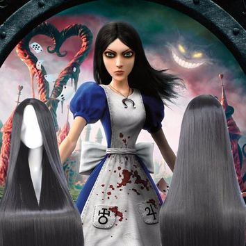 100cm  New Design Alice Madness Returns Anime Cosplay Wig Hair Silky Straight Natural Black No Bangs Middle Parting Cos Wig+ Cap