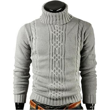Mens Sweater Pullover Male Slim Sweaters Mens Solid High Lapel Jacquard Hedging Mens Sweater XXL