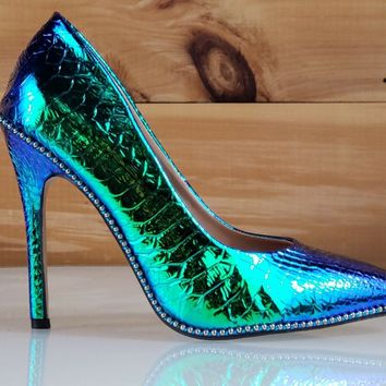 C & C Lala Mermaid Green Hologram Ball Stud Trim Pointy Toe High Heel Pumps