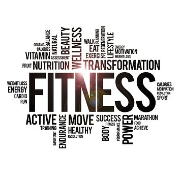 Vinyl Wall Decal Fitness Words Cloud Healthy Lifestyle Wellness Gym Motivation Stickers Mural (ig3825)