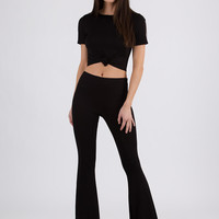Knot Bad Crop Top And Bell-Bottoms Set