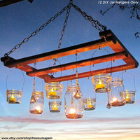 DIY Lanterns 12 WIDE Mouth Hangers, Ball Mason Jar Lanterns Hangers Only -No Jars