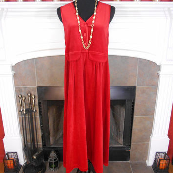 80s, Beautiful Red Velvet Jumper Dress by FADS, Buttoned Top, Sleeveless, Red Satin Trim, Faux Front Pockets, Ankle Length, Size Medium