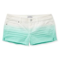 Destructed Medium Wash Frayed Denim Shorts - Aeropostale