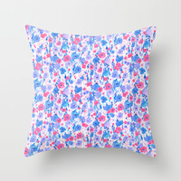 Flower Field Lilac Blue Throw Pillow by Jacqueline Maldonado