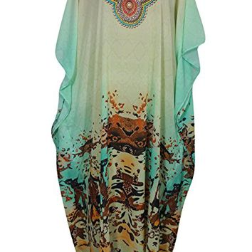 Mogul Womens Caftan Dress Hawaii Holiday Digital Print V-Neck Sexy Maxi Beach Cover Up Kaftan